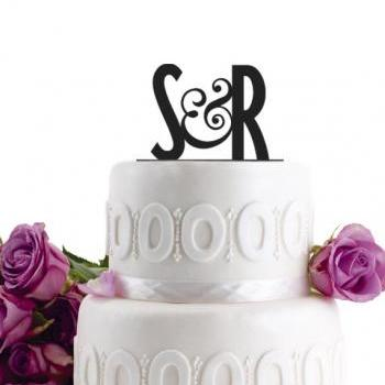 Wedding Cake Topper - Initial Wedding Decoration - Cake Decor - Personalized Wedding Cake Topper - Monogram Cake Topper